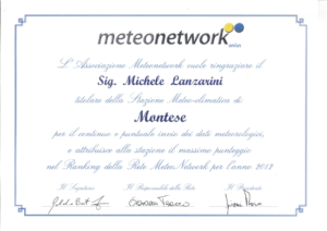 attestato meteonetwork 2012