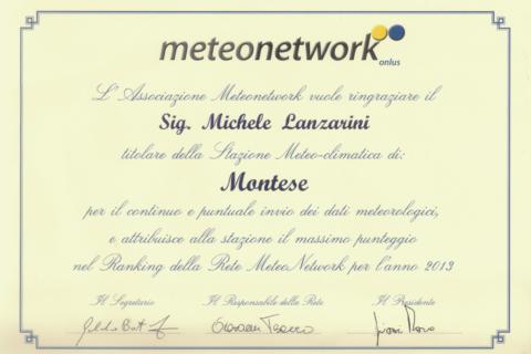 attestato meteonetwork 2013
